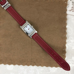 Tommy Hilfiger Accessories - Tommy Hilfiger Black/Red Leather Band Tank Watch